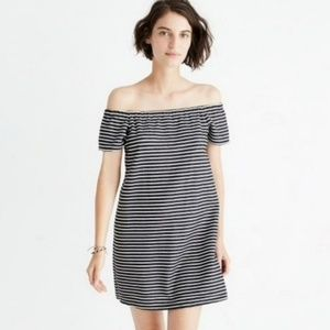 Madewell Off the Shoulder Melody Striped Dress